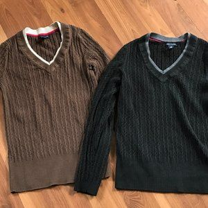 2 classic Tommy Hilfiger Vneck Sweaters